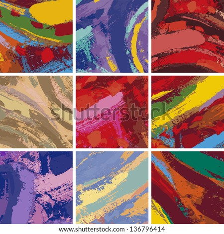 Vector Illustration Set of Abstract Painting Background Design - stock vector