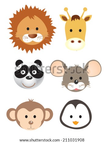 Vector illustration set of animal faces. - stock vector