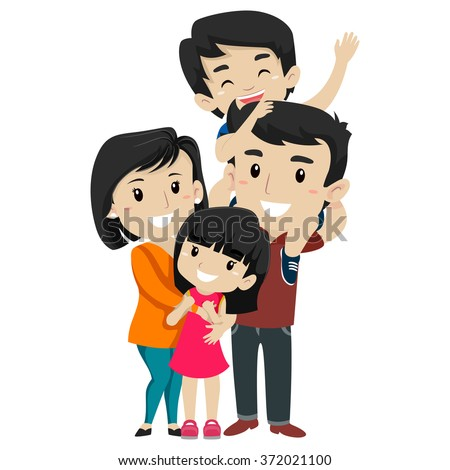 Vector Illustration Set of  Asian Happy Family  - stock vector
