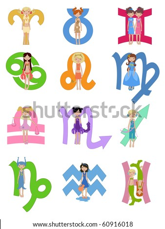 Vector Illustration set of astrological zodiac signs used in Western astrology - stock vector
