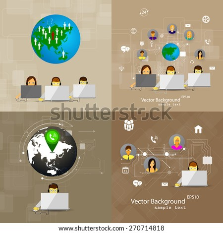 Vector illustration set of backgrounds concept of call center, customer support. - stock vector