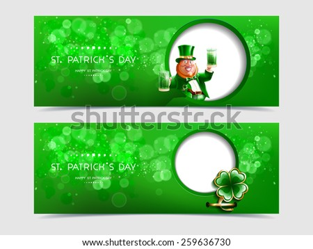 Vector illustration set of banners with leaf clover, gold rim, cartoon character of Irish or leprechaun, green beer and ale in hand in wight circle on green background lettering Happy St. Patrick Day - stock vector