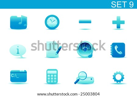 Vector illustration ? set of blue elegant simple icons for common computer and media devices functions. Set-9 - stock vector