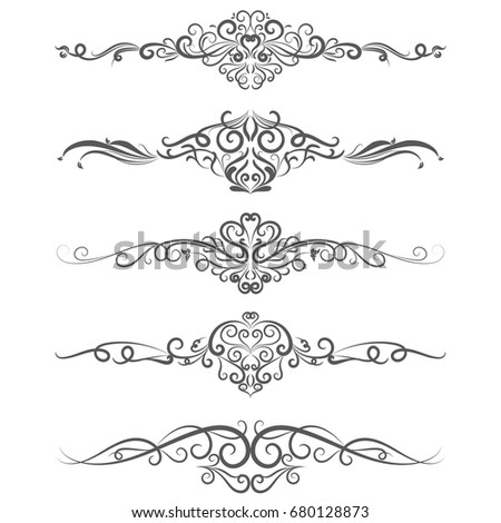 Vector Illustration Set Of Border Calligraphic Design Elements And Dividers Decorative Vintage Swirl Line