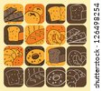 Vector illustration - set of bread icons - stock vector