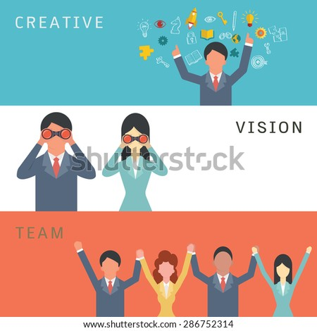 Vector illustration set of business creative, vision, and team work concept. Cartoon character of business man and woman in simple and flat design.  - stock vector