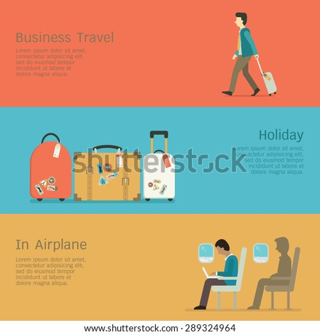 Vector illustration set of business travel concept, businessman walking at airport, luggage for holiday, man using laptop in the airplane. Flat design. - stock vector