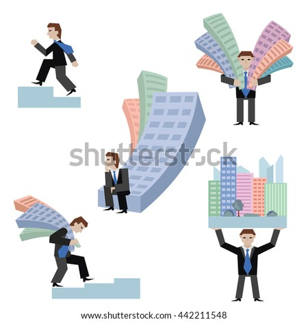 Vector illustration set of businessmans with houses standing sitting going on chart, isolated on white background.; Business concept the real estate market. - stock vector