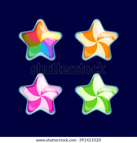 Vector illustration.Set of Cartoon different Stars.Funny cartoon colorful bubbles Candy glossy Star isolated on a dark background. Game icon.Vector design for app user interface and score display. - stock vector