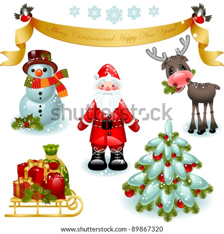Vector illustration - set of christmas icons. Santa claus with gifts, snowman, deer and christmas tree. Banner Merry Christmas and happy new year - stock vector