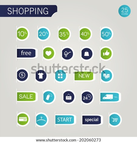 vector illustration set of color icons of modern shopping