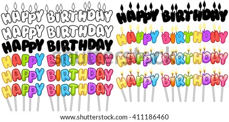 Vector illustration set of colorful Happy Birthday text on stick and candles. - stock vector