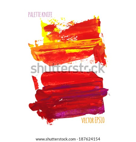Vector illustration. Set of colorful spot, painted with a palette knife, isolated on  white background. yellow-red - stock vector