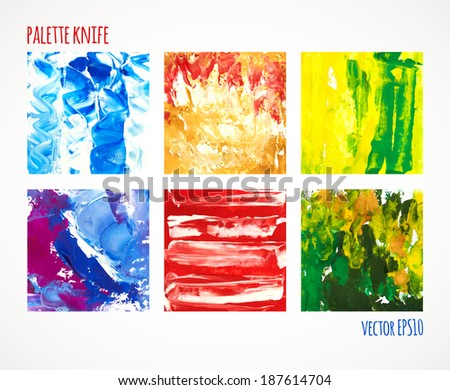 Vector illustration. Set of colorful squares, painted with a palette knife,  isolated on white background - stock vector