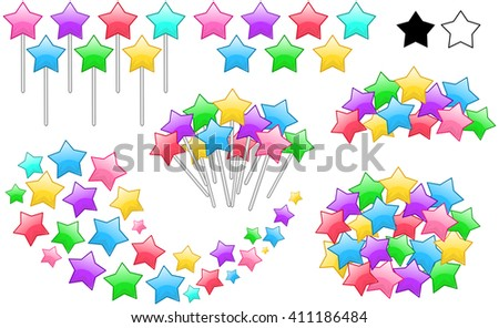 Vector illustration set of colorful stars on stick in various forms. - stock vector