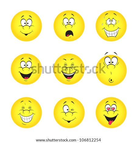 Vector illustration set of cool smile-balls. All elements are grouped. - stock vector