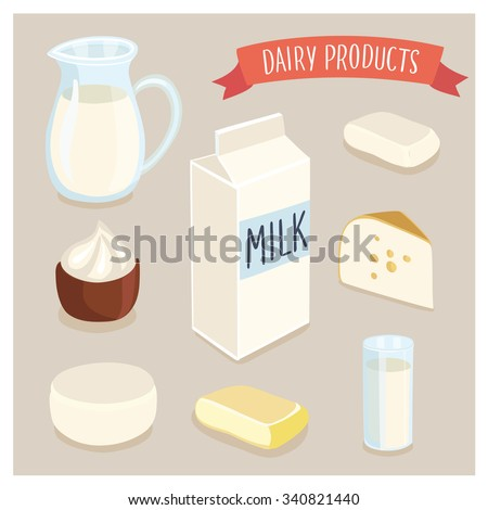 Vector illustration set of dairy production and hand writing lettering. Milk jug, butter, a glass of milk, sour cream, cottage cheese, cheese, milk packaging - stock vector