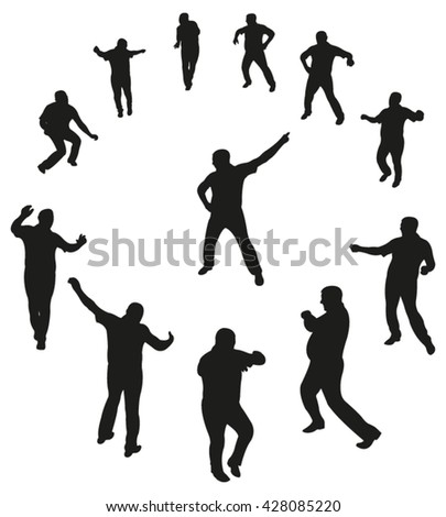 Vector Illustration. Set of Dancing Man Silhouettes