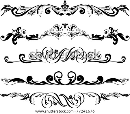 Vector illustration:  set of decorative horizontal elements for design - stock vector