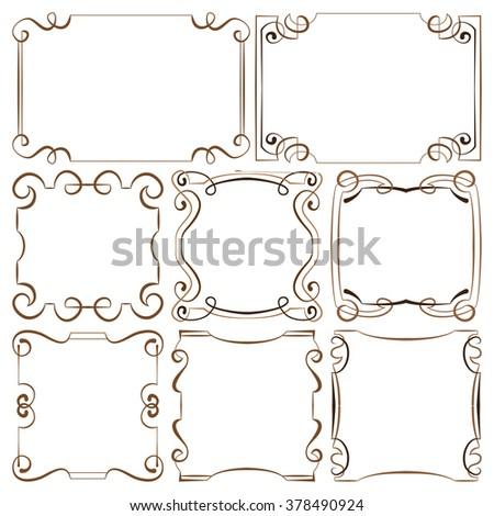 vector illustration. set of decorative multilayer frameworks - stock vector