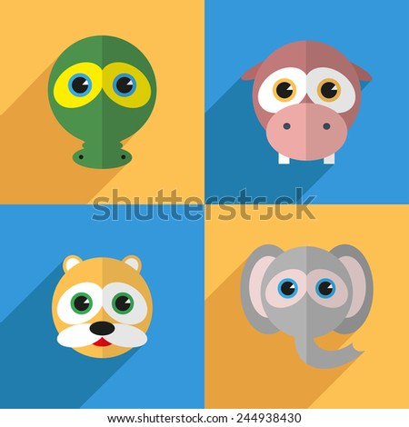 Vector illustration set of different animals, including crocodile, hippopotamus, hamster, elephant