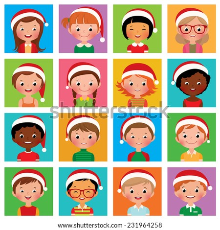 Vector illustration set of different avatars of boys and girls in the Santa hat/Icon set portraits of boys and girls in the Santa hat/Icon set portraits of boys and girls - stock vector