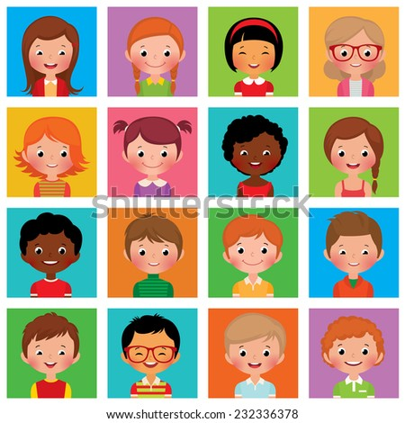 Vector illustration set of different avatars of boys and girls on a on a square flat/Set avatars boys and girls/Set avatars portraits of boys and girls - stock vector