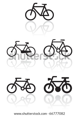 Vector illustration set of different bike symbols. All vector objects are isolated. Colors and transparent background color are easy to adjust. - stock vector