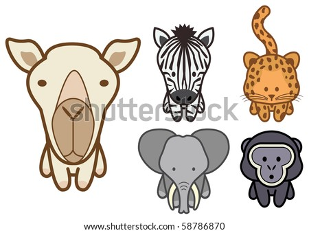 Vector illustration set of different cartoon wild or zoo animals. All objects and details are grouped. Colors and transparent background color are easy to adjust. - stock vector