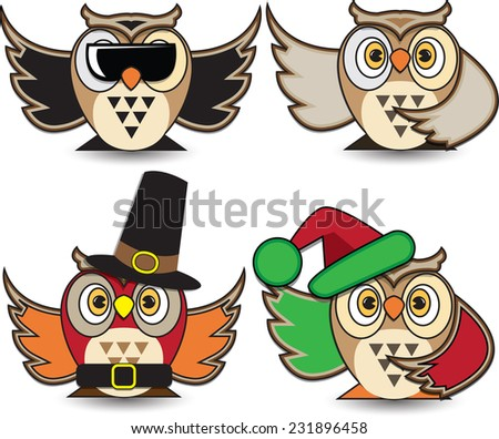 Vector illustration. Set of different owls. - stock vector