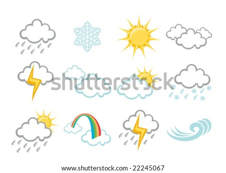 Vector illustration set of elegant Weather Icons for all types of weather - stock vector
