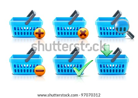 Vector illustration set of empty supermarket shopping baskets - stock vector