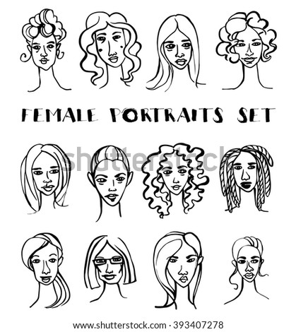 Vector illustration Set of female doodle hand drawn portraits. Black and white - stock vector