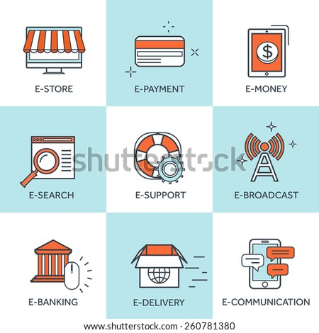 Vector illustration. Set of flat backgrounds with lined borders. Internet browsing and cloud computing, Coding and programming, app development, e-learning and e-currency. Web surfing . - stock vector