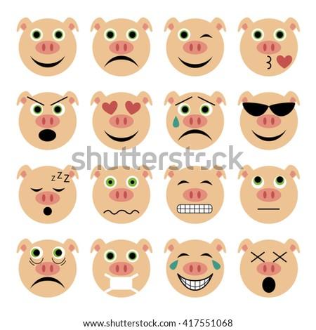 vector illustration set of flat pig emoticons  - stock vector