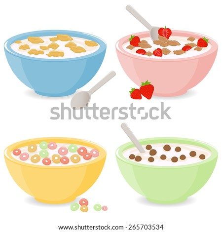 Vector illustration set of four bowls of breakfast cereal in different flavors.  - stock vector