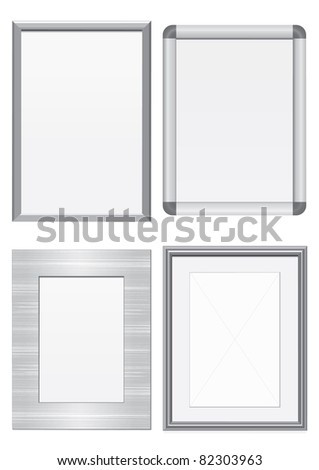 vector set of frames with metal texture all vector objects are isolated and grouped - Metal Picture Frames