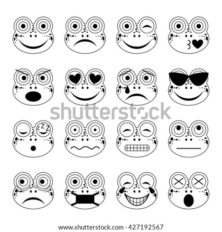 vector illustration set of frog emoticons in black and white