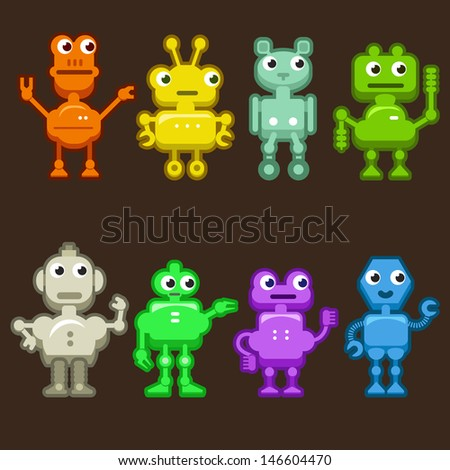 Vector Illustration: Set of Funny and Colorful Robots on Dark. Positive Droids - stock vector