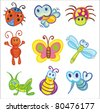 Vector illustration - set of funny little insects icons - stock vector
