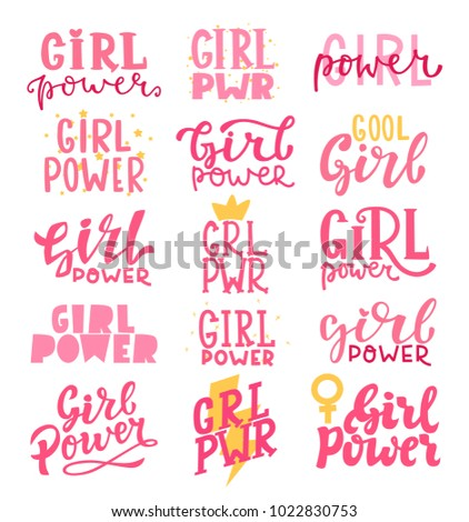Vector Illustration Set Of Girl Power Lettering. Cute Art With Graphic  Slogan, Quote,