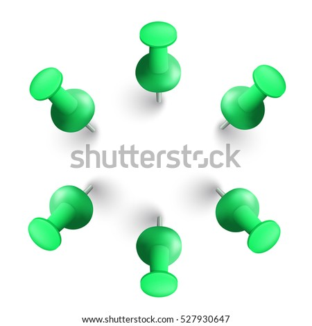 Vector illustration set of green push pins. Isolated on white background.