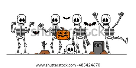 Vector illustration - Set of Halloween skeleton character.