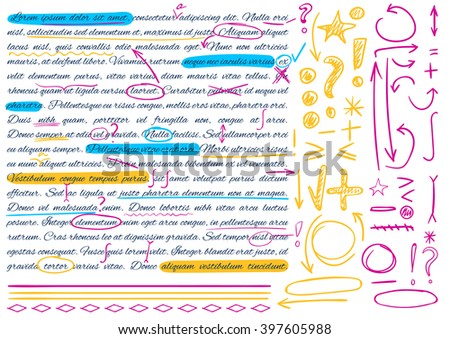 VECTOR illustration, set of hand drawn doodle icons. Elements for text correction. Blue, yellow and pink marks.  - stock vector