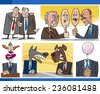 Vector Illustration Set of Humorous Cartoon Concepts or and Metaphors of Politics and Politicians - stock photo