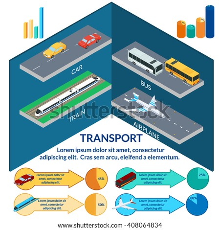 vector illustration. Set of icons of urban passenger transport. Plane, train, car, bus. Infographic, isometric, 3D - stock vector