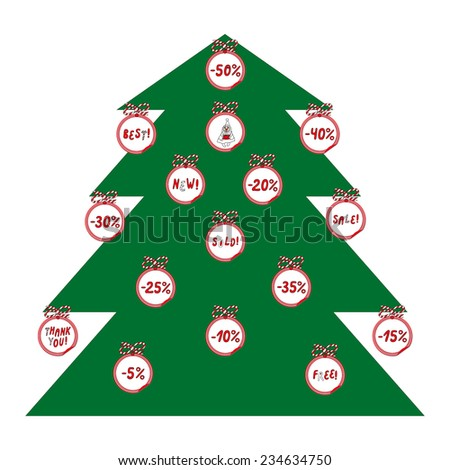 Advertising Slogan Hot Promo Special Christmas Stock Vector  - Christmas Tree Discounts