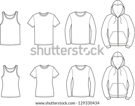 Vector illustration. Set of men's and women's casual clothes: singlet, t-shirt, jumper, smock - stock vector