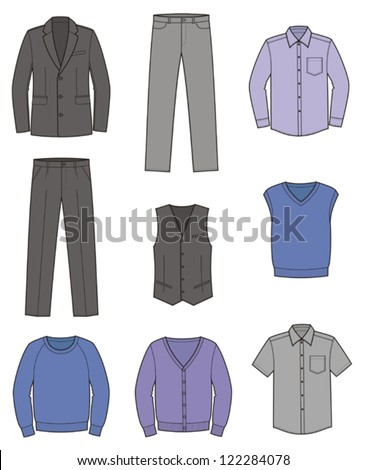 Vector illustration. Set of men's business clothes: coat, pants, waistcoat, shirt, knitwear,cardigan, jumper. Business style