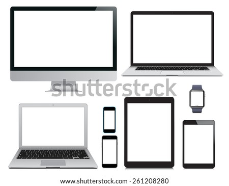 Vector illustration, set of modern electronic devices isolated on white background - laptop, computer monitor, smart watch, tablet pc and mobile smartphones - stock vector